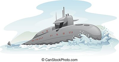 Submarine - Illustration of a Submarine Partially Submerged