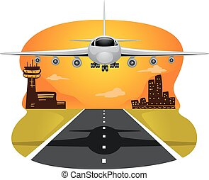 Airplane Landing - Illustration of a Commercial Airplane...