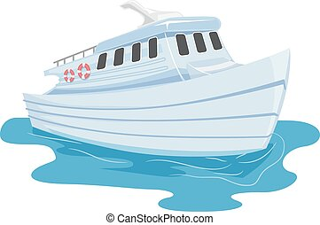 Ferry - Illustration of a Small Ferry Cruising Through Water
