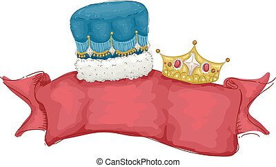 King Queen Crown Banner - Illustration of a Banner Decorated...