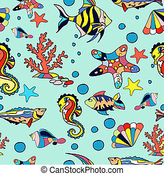 Sea seamless pattern with fish starfish and corals in blue
