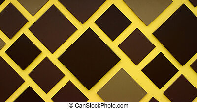 Brown square box on yellow background for space design