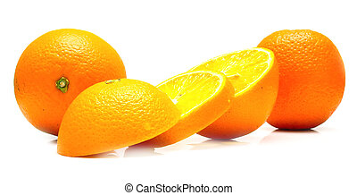 ripe cuted oranges. - The ripe cuted oranges. Isolation on...