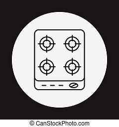 gas stove line icon