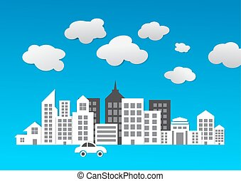 Abstract city 3d paper building vector