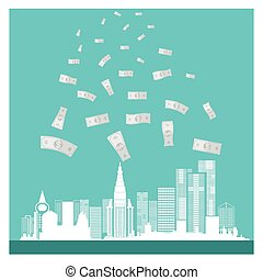 business vector money buildings success on blue background