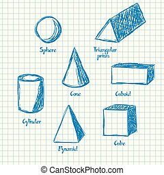 Math shapes doodle - Illustration of 3d mathematical shapes...