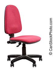 cadeira, vermelho, escritório