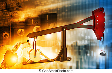 oil price graph and Oil rig pump jack background