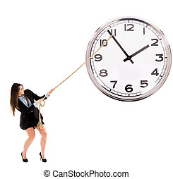Businesswoman trying to stop time - Businesswoman trying to...