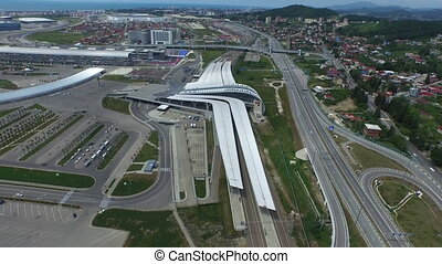 railway station in sochi - aerial view of railway station in...