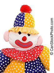 Rag doll clown on a white background