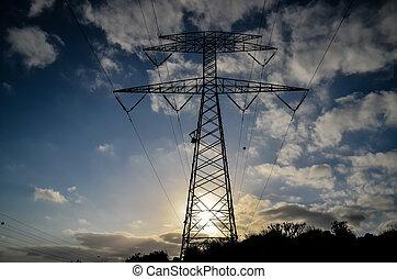 alto, Voltagem, Elétrico, transmissão, torre,