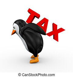 3d penguin carrying word tax - 3d illustration of penguin...