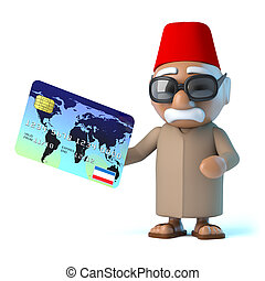 3d Moroccan pays by debit card - 3d render of a Moroccan...