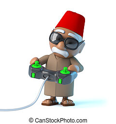 3d Moroccan plays a videogame - 3d render of a Moroccan...