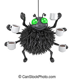 3d Spider drinks coffee - 3d render of a spider with lots of...