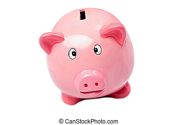 Money box - Pink money box a over white background