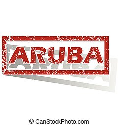 Aruba outlined stamp - Outlined red stamp with country name...