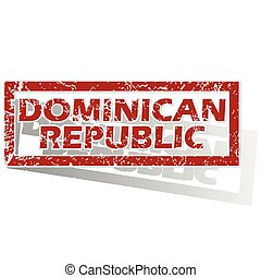 Dominican Republic outlined stamp - Outlined red stamp with...