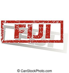 Fiji outlined stamp - Outlined red stamp with country name...