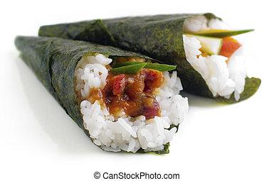 Hand rolled temaki sushi. - Hand rolled temaki sushi...