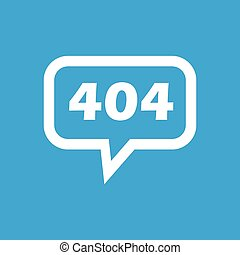 Error 404 message icon - Text 404 in chat bubble, isolated...