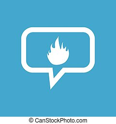 Fire message icon - Image of flame in chat bubble, isolated...