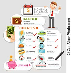 Monthly expenses template Vector illustration Can be used...
