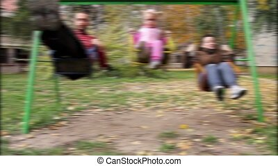 Blurred view of a family
