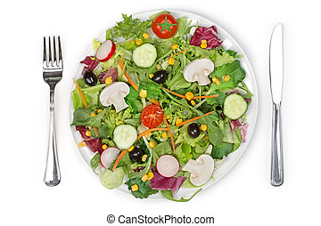 tossed salad - top view of a mixed salad plate, fork and...