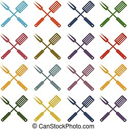 vector set icons bbq fork and spatula in different colors -...