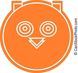 Vector logo of silhuette head owl in orange color - Vector...
