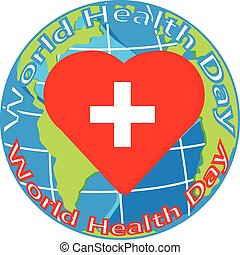 vector red heart with cross on globe for health day