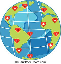vector red hearts with cross on map globe for health day