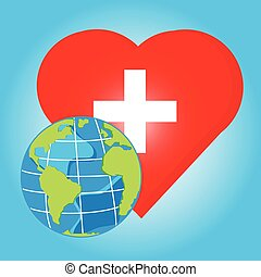 vector globe on red heart with cross for health day