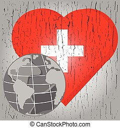 vector globe on red heart with cross on gray chsp background...