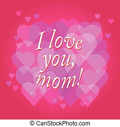 vector Happy Mother's Day text with heart in red and purple colors