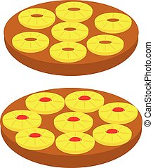 vector silhouette backed Pineapple Upside down Cake - vector...