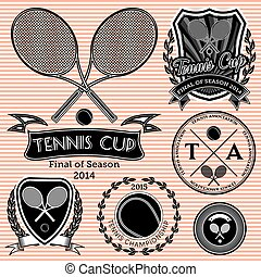 set of emblems on big tennis - set of vector emblems on big...