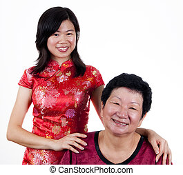 Mother & Daughter. - Portrait of Asian Chinese Mother and...