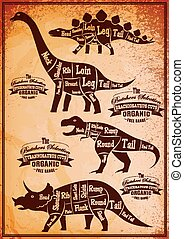 collection of dinosaurs with their cutting scheme -...