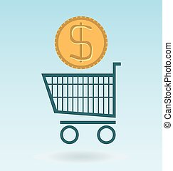 shopping chart with dolar coin