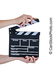 clapper board - woman hands with clapper board