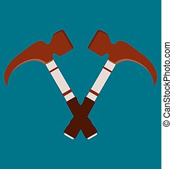 Crossed hammers. Suitable for advertising.