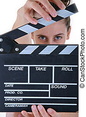 clapper board woman - woman actor with clapper board