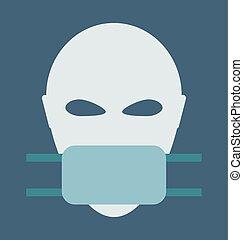 médico, máscara, cara