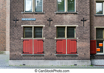 Red Window of Grote kerk (Big Church) in The Hague,...