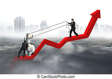 Two business men moving dollar sign upward red trend line -...