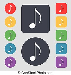 musical note, music, ringtone icon sign A set of 12 colored...